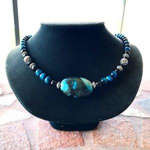 Genuine blue tiger eye & chrysocolla gem necklace